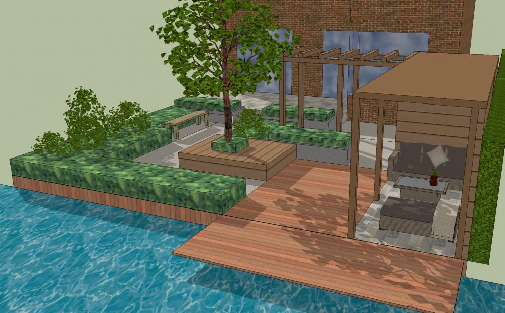 bergambacht tuin water vlonder cabin tuinhuisje ©Groenerwaard