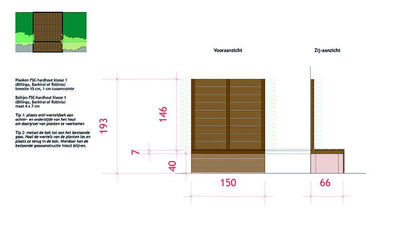 detail ontwerp schutting zitelement ©Groenerwaard