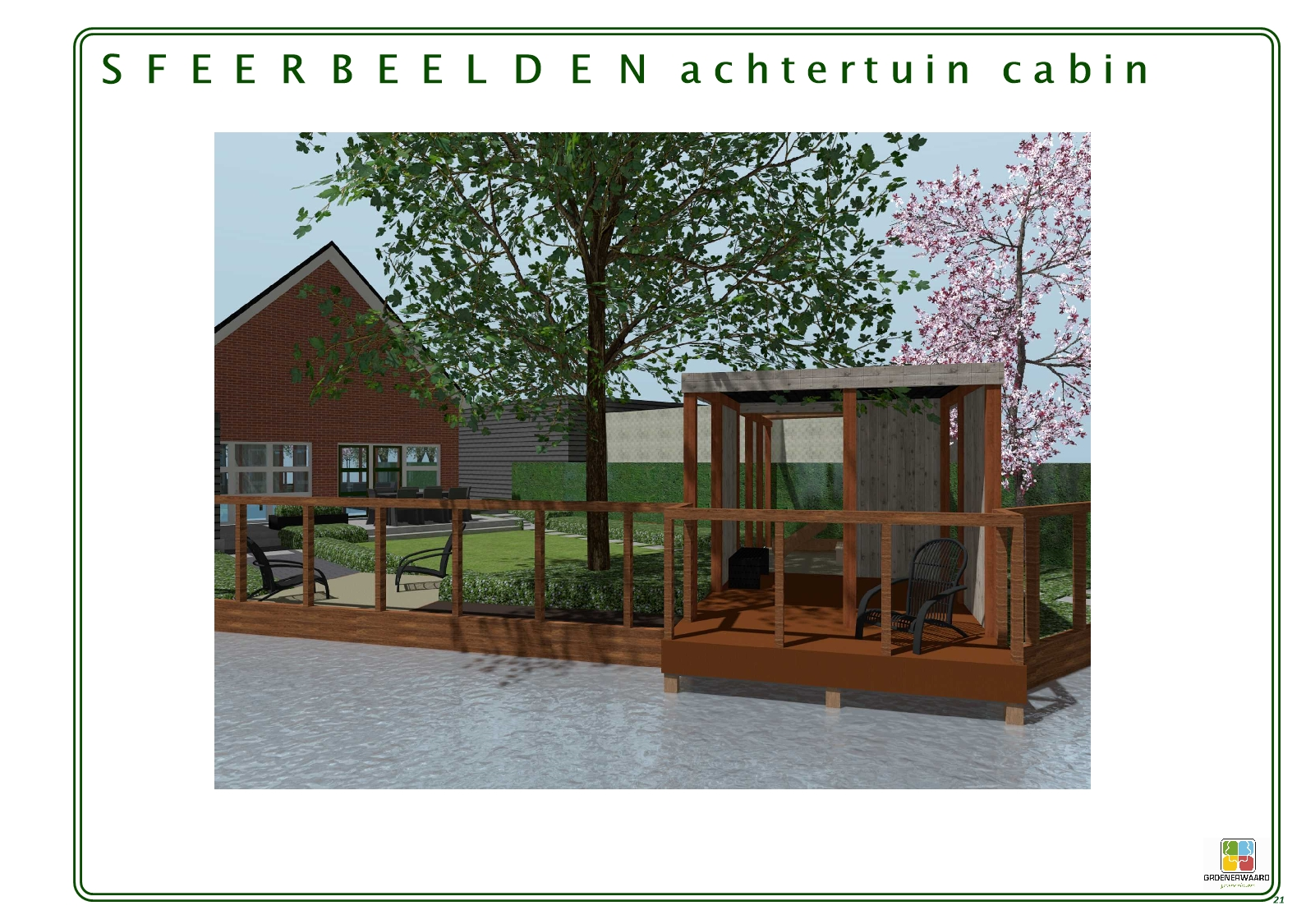 Stoere gezinstuin met patio en dakplatanen in Stolwijk ©Groenerwaard