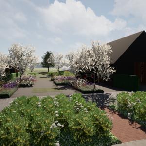 Landelijke boerderijtuin met veel bloemen en bloesems ©Groenerwaard