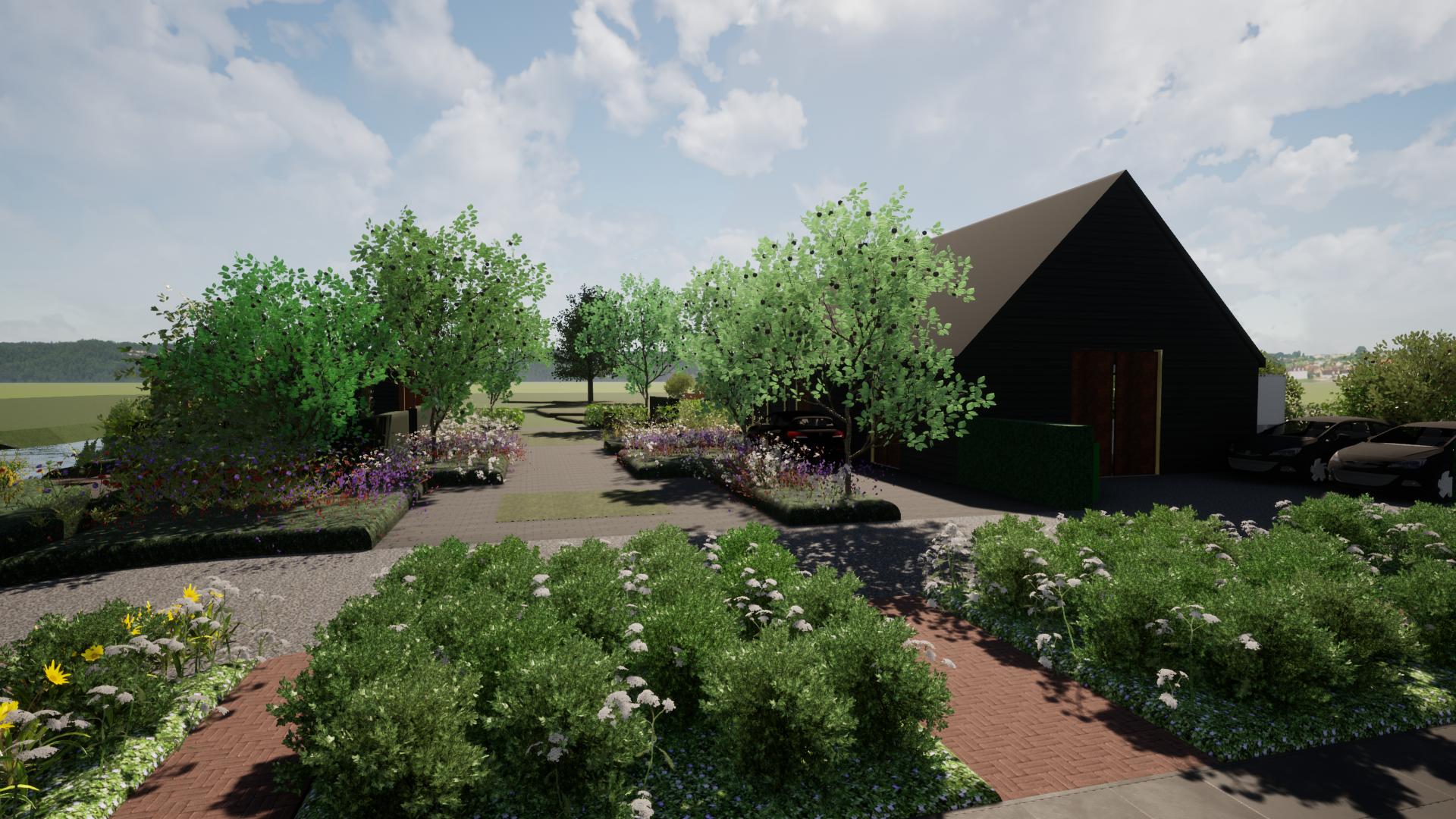 Boerentuin met doorgang voor landbouwvoertuinen en toch groen enbesloten©Groenerwaard