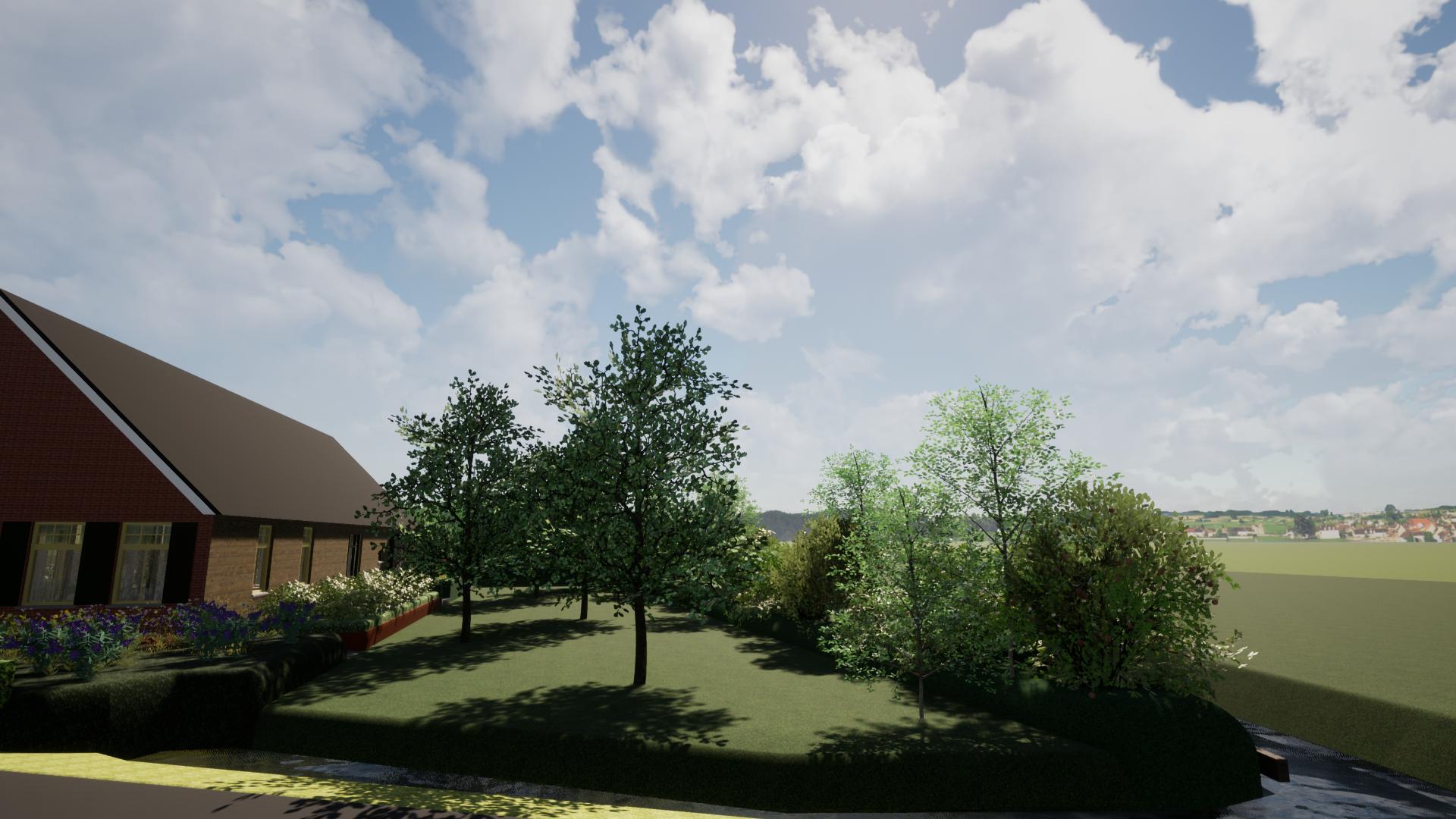 Zijtuin met parking en boomgaard©Groenerwaard
